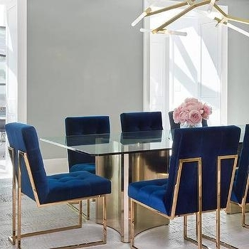 Famous Blue Glass Dining Tables Within Blue Velvet Tufted Dining Chairs Design Ideas (View 6 of 20)