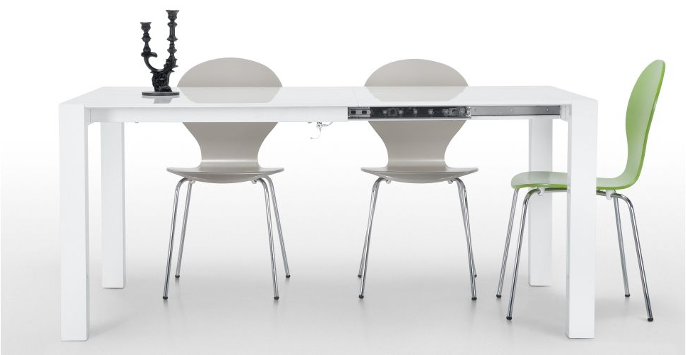 Famous Bramante Square Extending Dining Table In White (View 4 of 20)