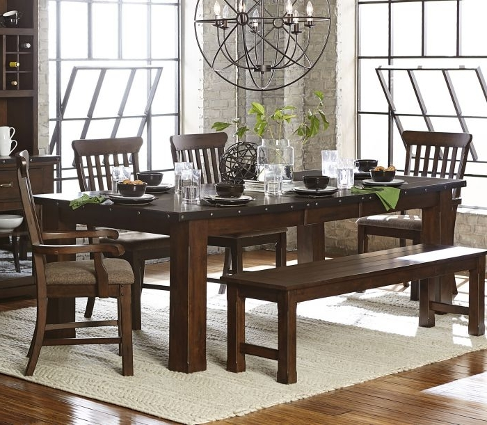 Famous Brushed Metal Dining Tables Pertaining To Homelegance 5400 94 5400 94 Brushed Brown Wood Leaf Dining Table (View 8 of 20)