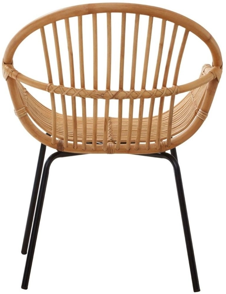 Famous Buy Lelystad Natural Rattan Chair With Metal Legs Online – Furntastic Regarding Natural Rattan Metal Chairs (View 1 of 20)
