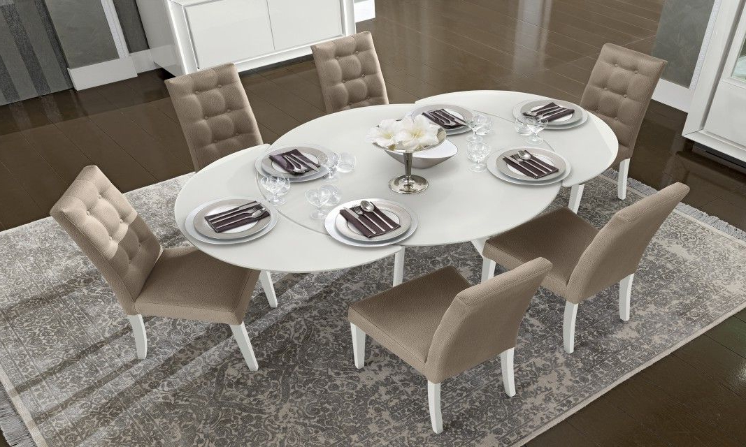 Famous Camelgroup Dama Bianca White Round Extendable Dining Table (View 10 of 20)