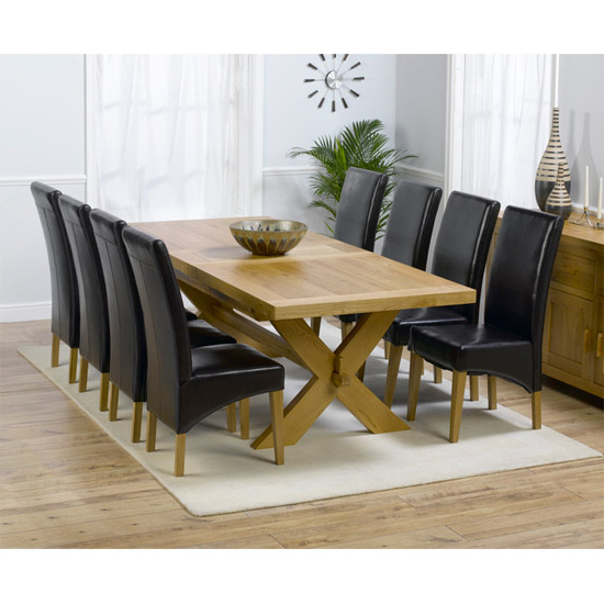 Famous Carlotta Extending Solid Oak Dining Table And 8 Leather For Solid Oak Dining Tables And 8 Chairs (View 5 of 20)