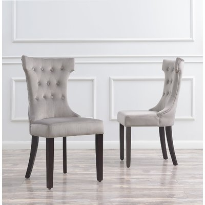 Famous Charlton Home Scituate Premium Upholstered Dining Chair In 2018 Within Caira Black 5 Piece Round Dining Sets With Diamond Back Side Chairs (View 14 of 20)