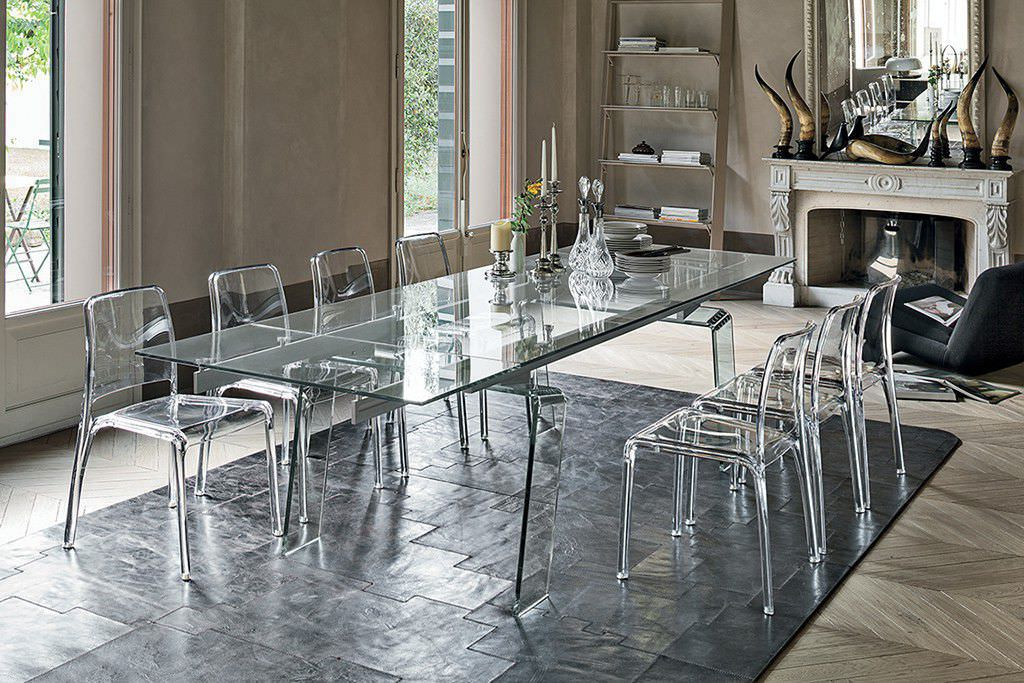 Famous Contemporary Dining Table / Glass / Rectangular / Extending Throughout Crystal Dining Tables (Gallery 1 of 20)
