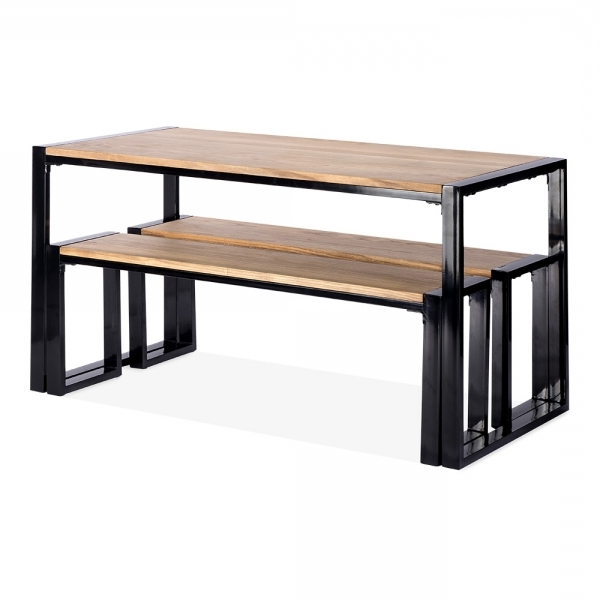 Famous Cult Living Gastro Solid Wood Table And Benches Set Black 140Cm Intended For Dining Tables And 2 Benches (View 12 of 20)