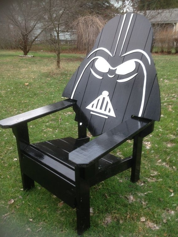 Famous Darth Vader Adirondack Chair Painted Version, Star Wars Themed Chair Regarding Garten Storm Chairs With Espresso Finish Set Of  (View 4 of 20)