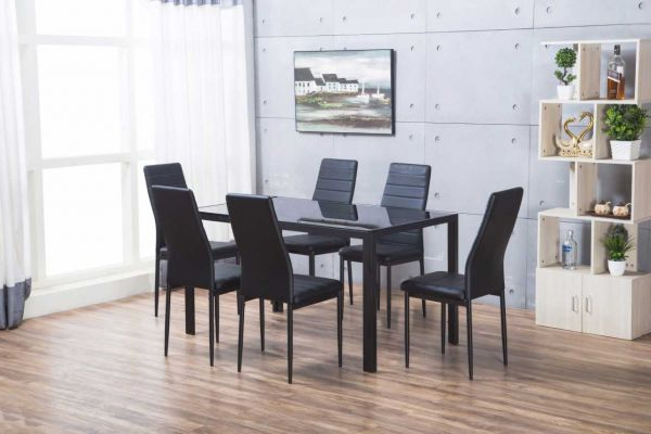 Famous Designer Rectangle Black Glass Dining Table & 6 Chairs Set With Regard To Glass Dining Tables With 6 Chairs (View 6 of 20)