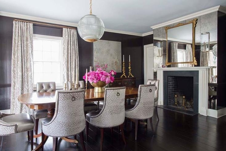 Famous Dining Room With Antiqued Mirrored Fireplace Wall – Transitional Throughout Antique Mirror Dining Tables (View 16 of 20)