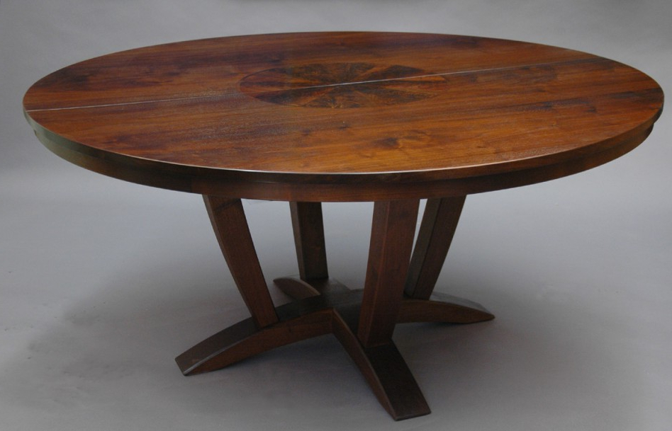 Famous Dining Table: Gorgeous Picture Of Aged Solid Cherry Wood Pedestal Regarding Round Extendable Dining Tables (View 20 of 20)