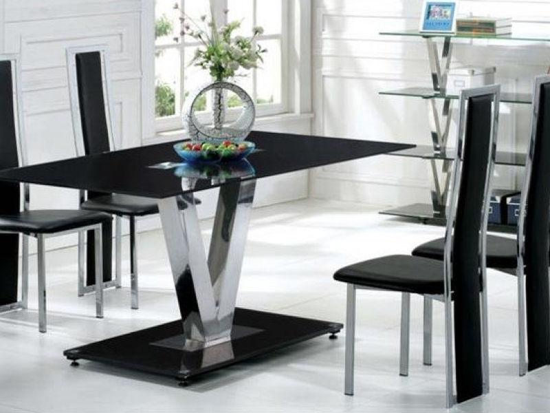 Famous Dining Tables Black Glass Intended For Black Glass Dining Table And 6 Black Chairs Set – Homegenies (View 11 of 20)