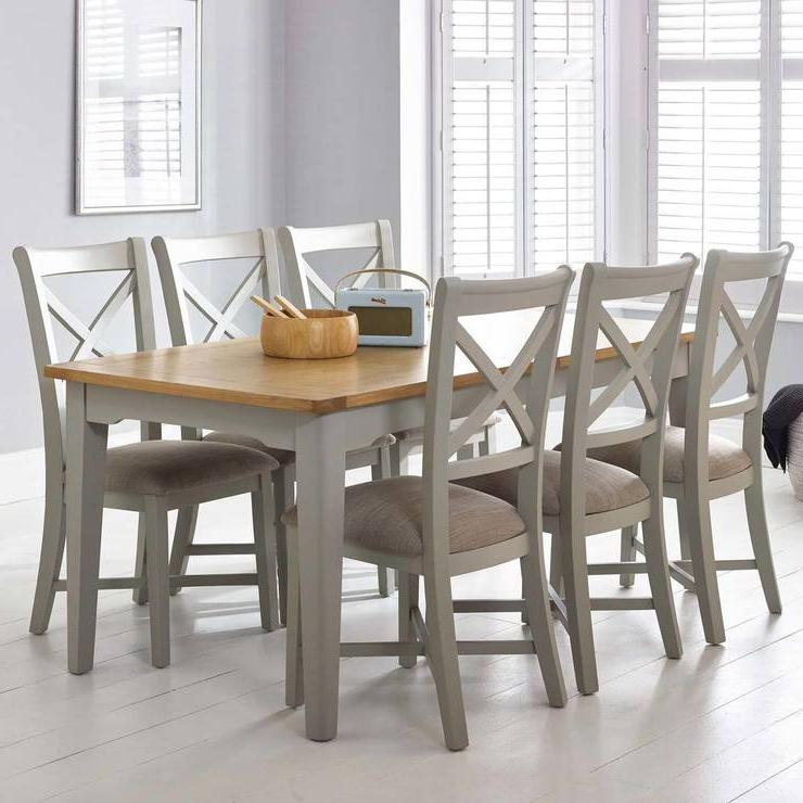 Famous Dining Tables With Grey Chairs Inside Bordeaux Painted Light Grey Large Extending Dining Table + 6 Chairs (Gallery 4 of 20)