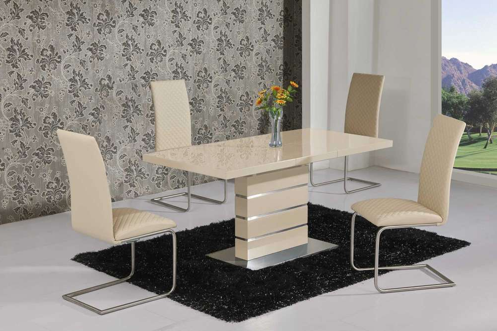 Famous Extending Cream High Gloss Dining Table And 6 Cream Chairs Intended For High Gloss Cream Dining Tables (View 4 of 20)