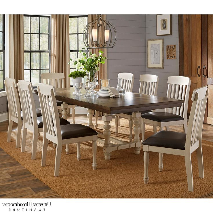 Famous Extending Dining Room Tables And Chairs For Universal Broadmoore Extending Dining Room Table + 8 Chairs (Gallery 12 of 20)