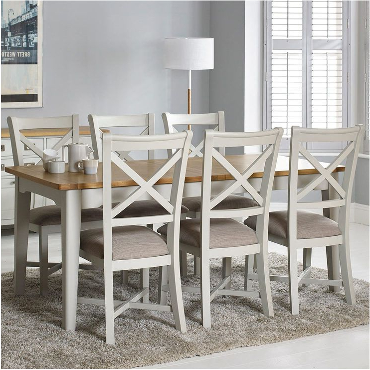 Famous Extending Dining Tables And 6 Chairs Inside Delightful Bordeaux Painted Ivory Large Extending Dining Table (View 7 of 20)