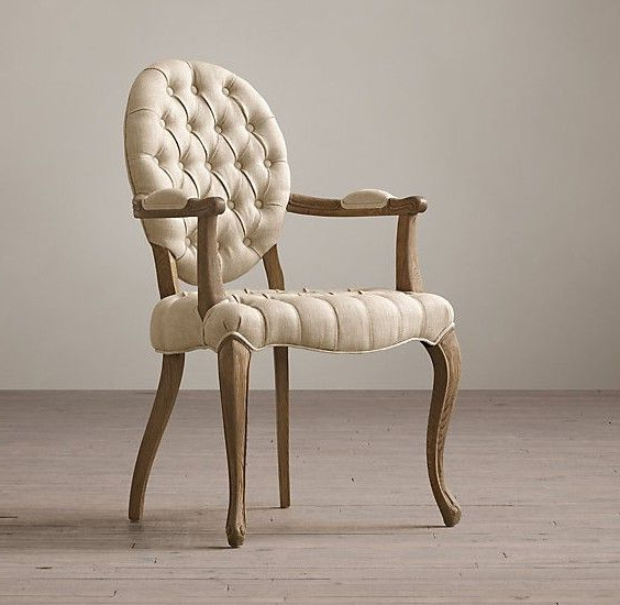 Famous Fabric Covered Dining Chairs With Regard To Tufted Round Arm Fabric Covered Leather Dining Chair , Elegant (View 13 of 20)