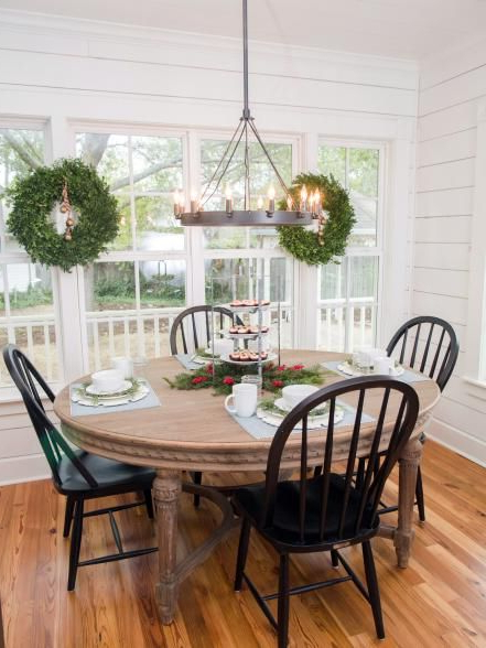Famous Fixer Upper: Renovation And Holiday Decor At Magnolia House Bed And Pertaining To Magnolia Home Breakfast Round Black Dining Tables (View 5 of 20)