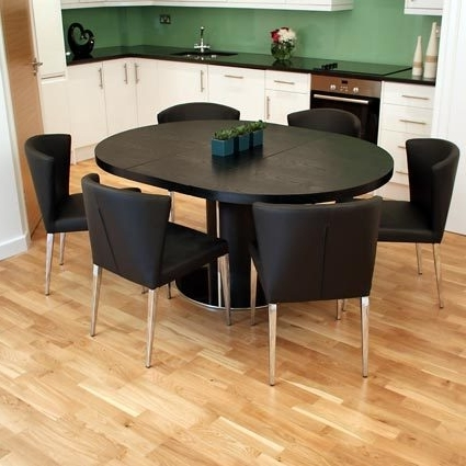 Famous Free Assembly On The Modern Curva Round Extending Dining Tables Pertaining To Black Extending Dining Tables (View 4 of 20)
