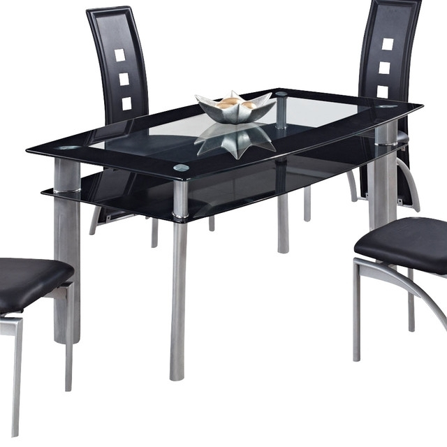 Famous Global Furniture Usa 1058Dt Rectangular Black Glass Dining Table Within Black Glass Dining Tables (View 9 of 20)