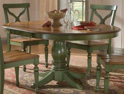 Famous Green Dining Tables Inside Sidney Dining Room Set Green Country French Round Table And 4 Chairs (View 2 of 20)