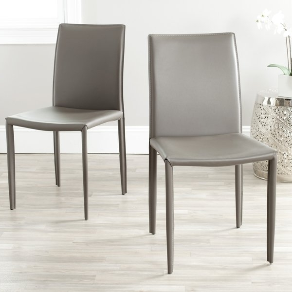Famous Grey Dining Chairs Throughout Shop Safavieh Mid Century Dining Jazzy Bonded Leather Grey Dining (View 5 of 20)