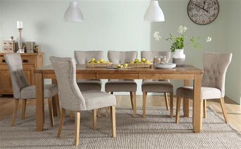 Famous Highbury Oak Extending Dining Table With 8 Chester Chairs (Ivory Pertaining To Dining Tables For  (View 11 of 20)