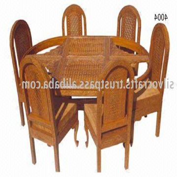 Famous Indian Wood Dining Tables Regarding Indian Teak Wood Hand Carved Dining Room Set & Restaurant Furniture (Gallery 16 of 20)