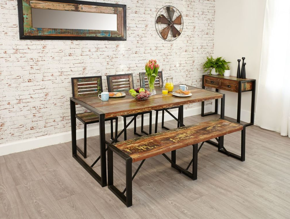 Famous Jaxon 6 Piece Rectangle Dining Sets With Bench & Wood Chairs Inside Kuredu Reclaimed Wood Furniture Dining Table Two Chairs Heavy Duty (View 6 of 20)