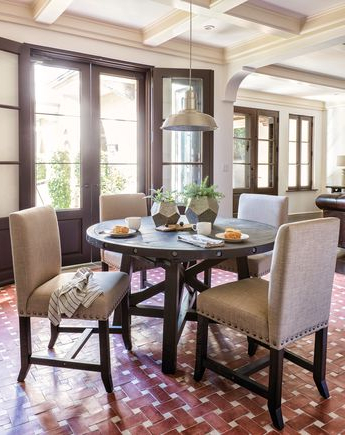 Famous Jaxon Grey 5 Piece Round Extension Dining Sets With Wood Chairs Regarding Tripton Rectangular Dining Room Table & 6 Uph Side Chairs (View 11 of 20)