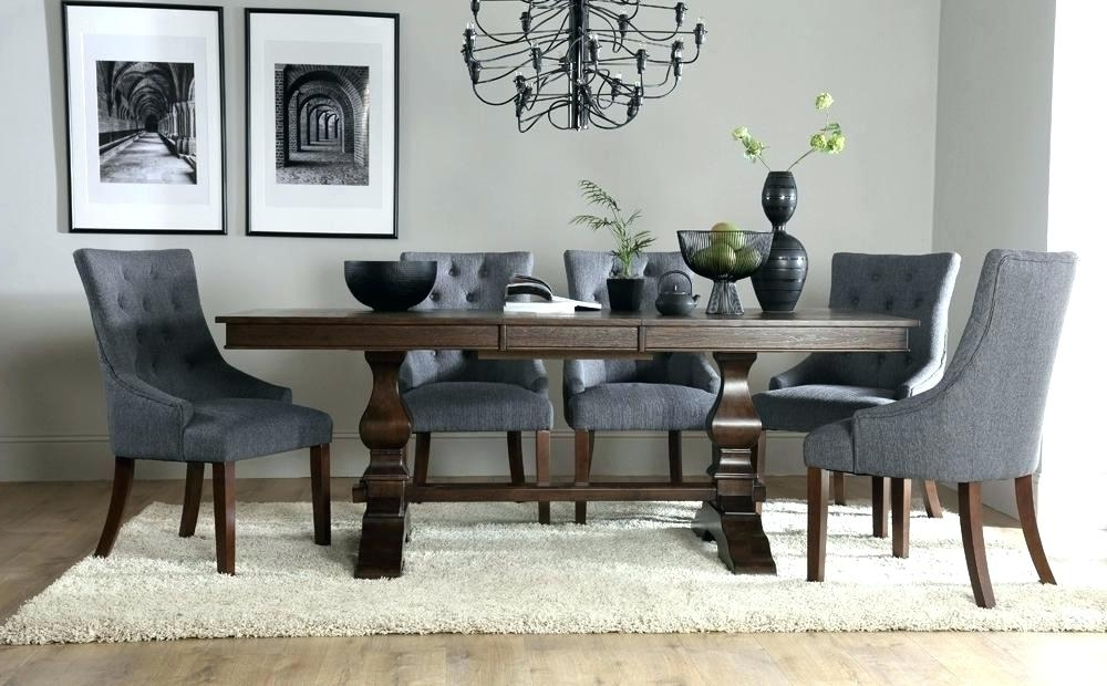 Famous Jaxon Grey Upholstered Side Chairs Pertaining To Round Dining Table With Upholstered Chairs (View 4 of 20)