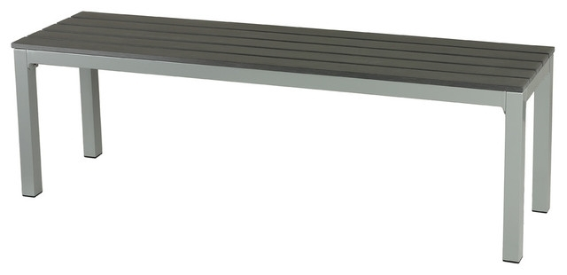 Famous Jaxon Large Aluminum Outdoor Bench, Poly Wood, Silver/slate Gray Intended For Jaxon Grey Wood Side Chairs (View 4 of 20)