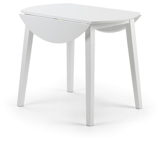 Famous Julian Bowen Costa White Lacquered Finish Drop Leaf Circular Dining Regarding White Circular Dining Tables (View 5 of 20)