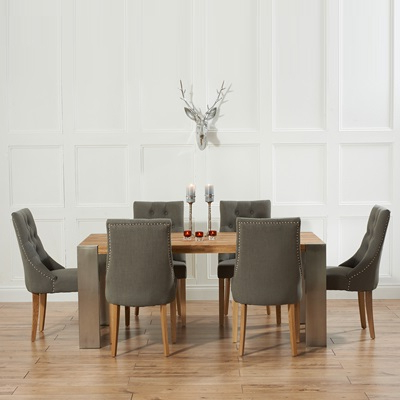 Famous Kingston Solid Oak Extending Dining Table With 6 Primly Grey Chairs Pertaining To Dining Tables With Grey Chairs (View 7 of 20)