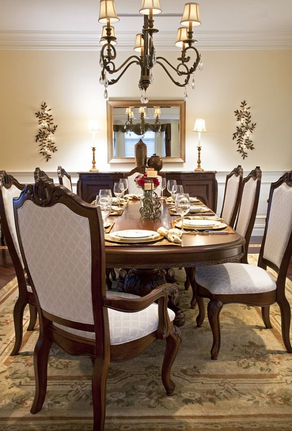 Famous Leon Dining Tables With Bed Ideas: Charming Brown Scheme Luxury Dining Room Interior Design (View 4 of 20)