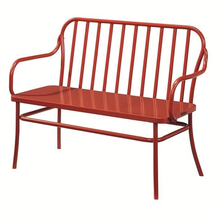 Famous Magnolia Home Peacock Blackened Bronze Metal Side Chairs Pertaining To Magnolia Home Elements Park Bench In Coral – Also Available In (View 7 of 20)