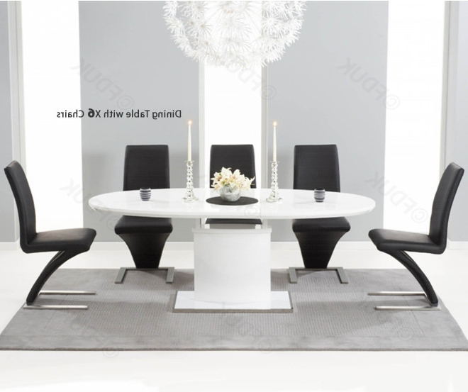 Famous Mark Harris Seville White High Gloss Dining Set – 160Cm Oval With 6 With Regard To Oval White High Gloss Dining Tables (View 3 of 20)