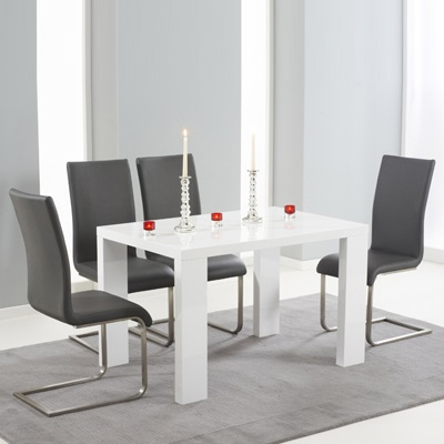 Famous Metro Dining Tables In Metro High Gloss White 150cm Dining Table With 6 Milan Grey Chairs (View 12 of 20)