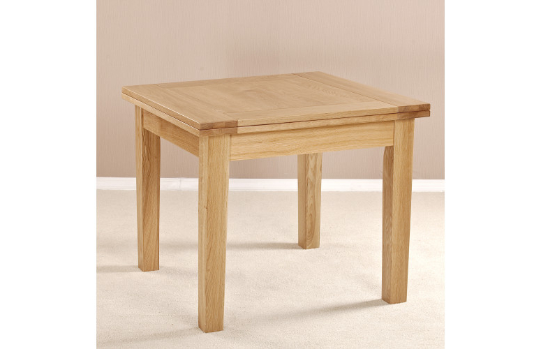 Famous Milano Solid Oak Square Flip Top Extending Dining Table With Square Oak Dining Tables (View 4 of 20)