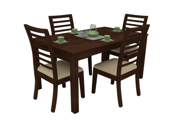 Famous Modena Walnut Dining Table Set 4 Seater (Teak Wood) – Adona Adona Woods Regarding Walnut Dining Table Sets (View 9 of 20)