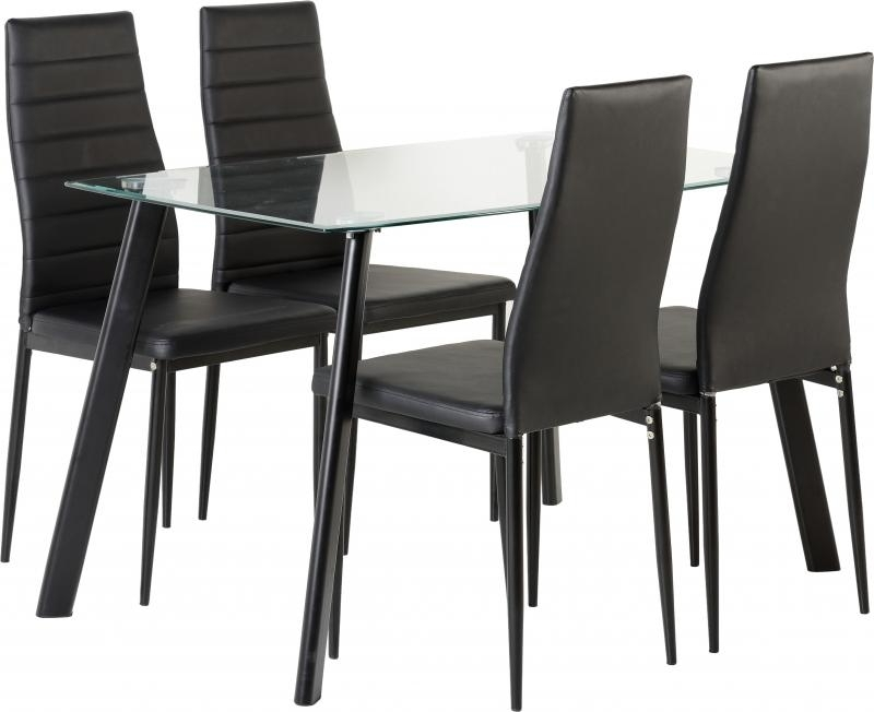 Famous New 'abbey' Clear Glass Dining Table + 4 Chairs In Black Only (View 7 of 20)