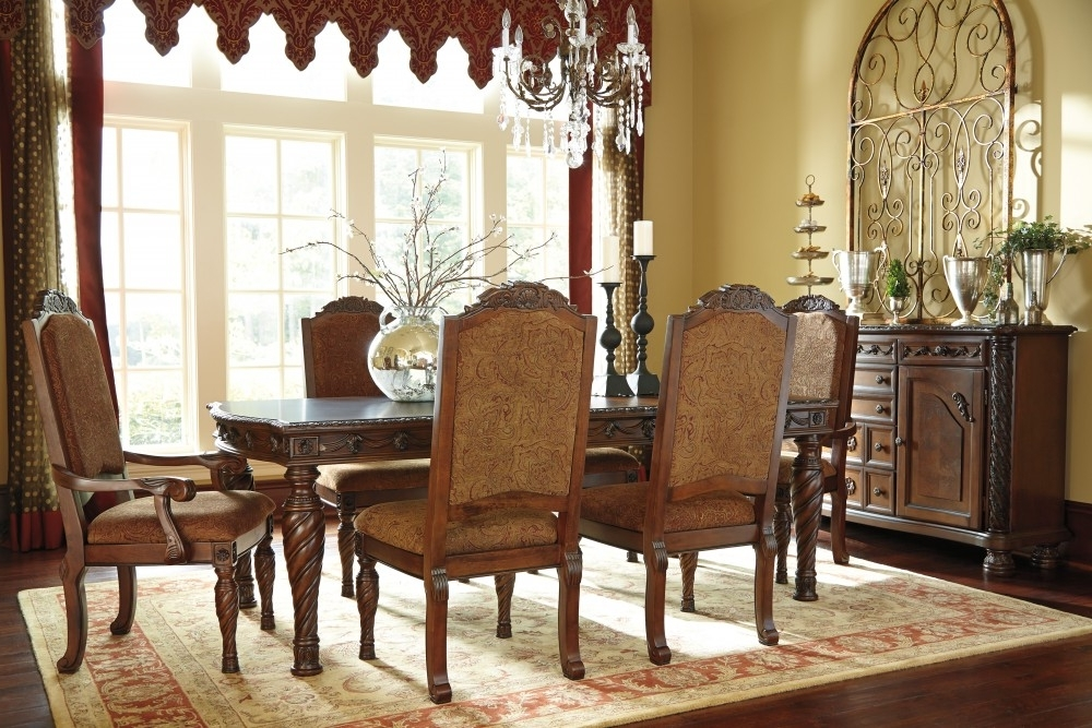 Famous North Shore Rect Dining Room Ext Table, 4 Uph Side Chairs & 2 Uph Regarding Norwood Upholstered Side Chairs (View 10 of 20)