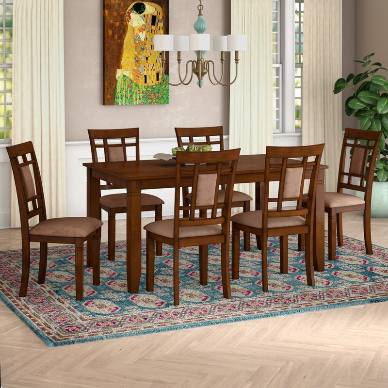 Famous Norwood 6 Piece Rectangular Extension Dining Sets With Upholstered Side Chairs In World Menagerie Ighli 7 Piece Dining Set & Reviews (View 3 of 20)