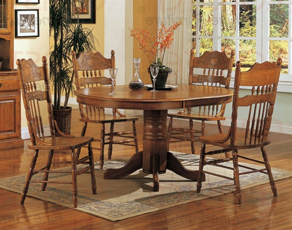 Famous Oak Dining Sets Intended For Nostalgia 5 Piece 42 Inch Round Dining Set With Press Back Chairs In (View 6 of 20)