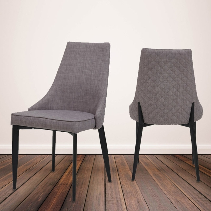 Famous Parq Quilted Back Grey Fabric Dining Chairs, 4 Pack (View 3 of 20)
