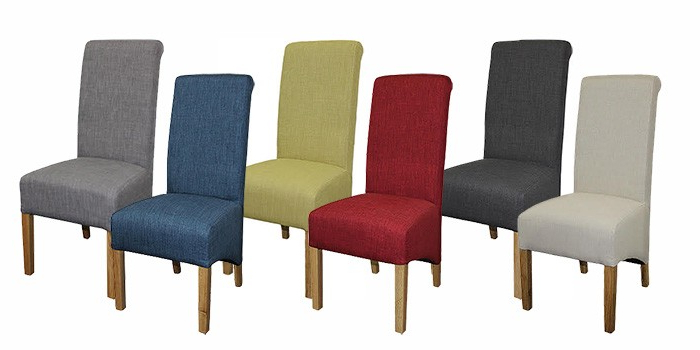 Famous Roll Top Terracotta Fabric Dining Chair – Upholstered Furniture With Fabric Covered Dining Chairs (View 8 of 20)