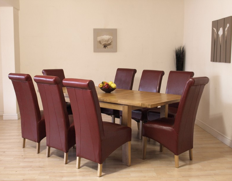 Famous Sgs And Fsc Ivory Leather 8Person Table And Chairs Ivory Dining With Oak Dining Tables And Leather Chairs (View 6 of 20)