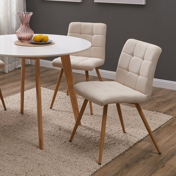 Famous Shop Handy Living Manzanola Tan Linen Armless Upholstered Dining Throughout Armless Oatmeal Dining Chairs (View 9 of 20)