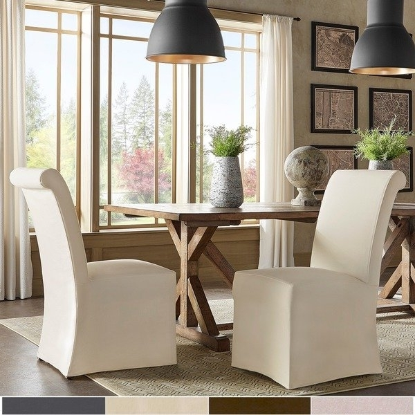 Famous Shop Potomac Slipcovered Rolled Back Parsons Chairs (Set Of 2) With Regard To Garten Marble Skirted Side Chairs Set Of  (View 4 of 20)