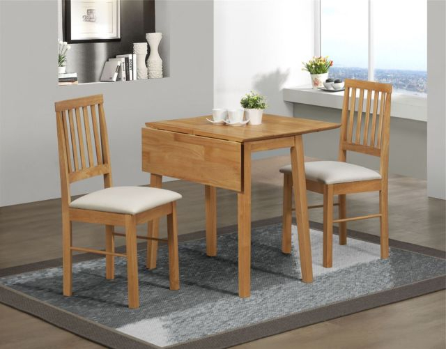 Famous Small Dining Sets With Regard To Birlea Rubberwood Small Drop Leaf Dining Table And 2 Chairs Set In (View 9 of 20)
