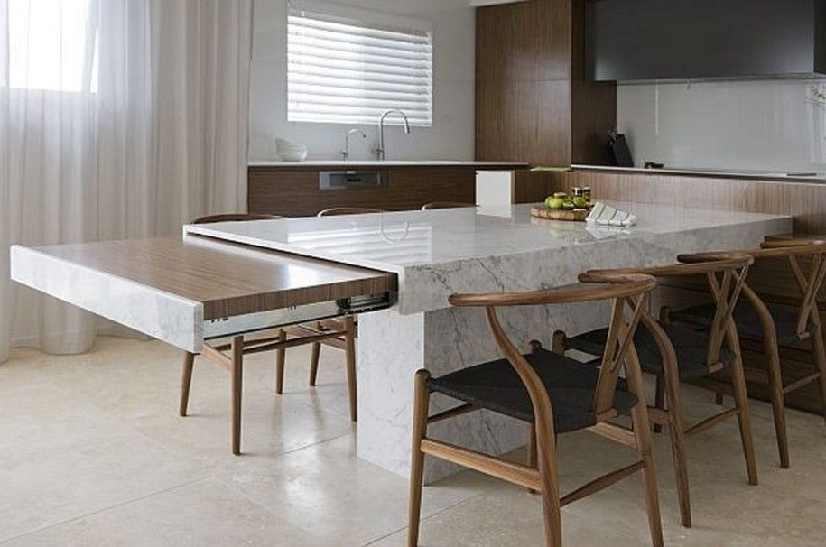 Famous Small Space Solutions: Hidden Kitchen From Minosa Design : Unique Regarding Extending Marble Dining Tables (View 10 of 20)
