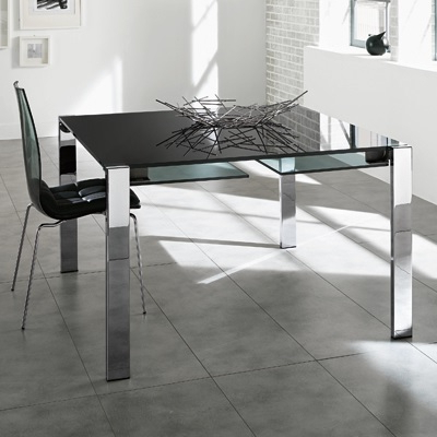 Famous Square Black Glass Dining Tables Within Livingstone 120cm Black Glass Square Extending Dining Table (View 4 of 20)